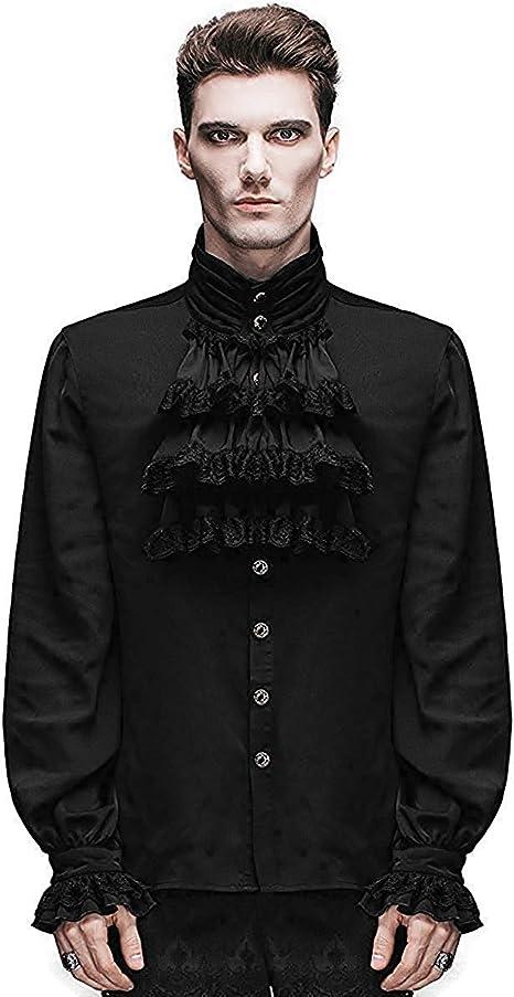 Devil Fashion Camisa Hombre Top Negro Steampunk Gótico Victoriano Regency Aristocrat: Amazon.es: Ropa y accesorios