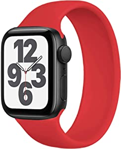 FnKer Braided Solo Loop Compatible with Apple Watch Bands 44mm/40mm SE/Series 6 Strap, Stretchable Silicone Elastics Compatible with iWatch Series 5/4/3/2/1 38mm 42mm-(Black-38/40-1)