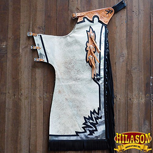HILASON CH206N-F BULL RIDING LIGHT NATURAL HAIR ON LEATHER RODEO CHAPS - Bull Riding Chaps