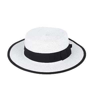 166476c99ab Women Sun Hats Summer Beach Flat Wide Brim Simple Fashion Straw Hats at  Amazon Women s Clothing store