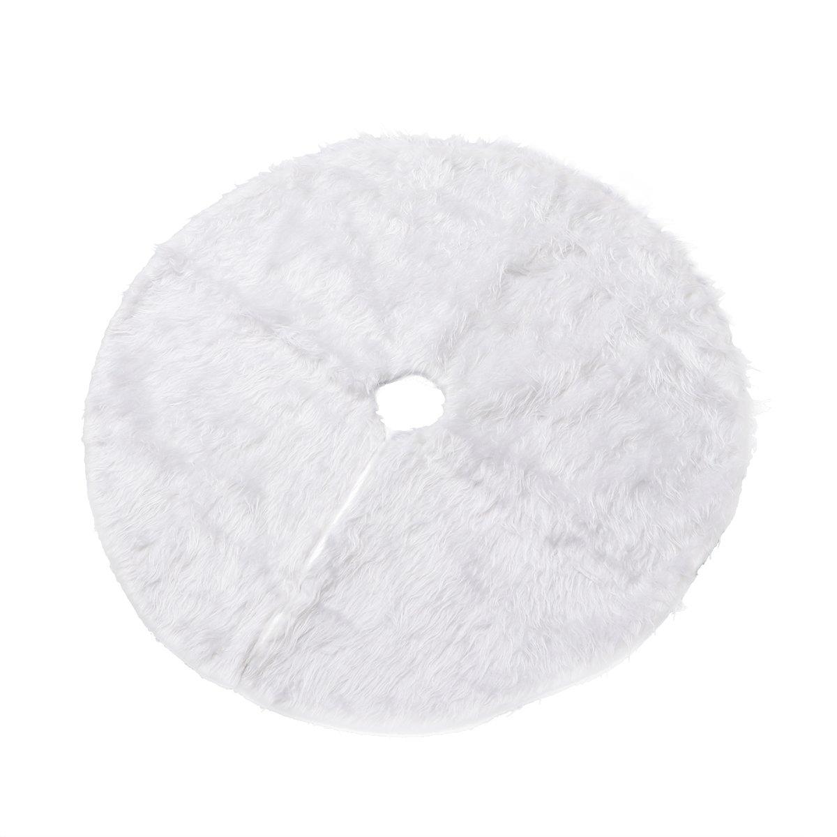 Gonna per albero di natale OULII Tappeto Albero natale per decorazione in bianco con diametro di 78 cm