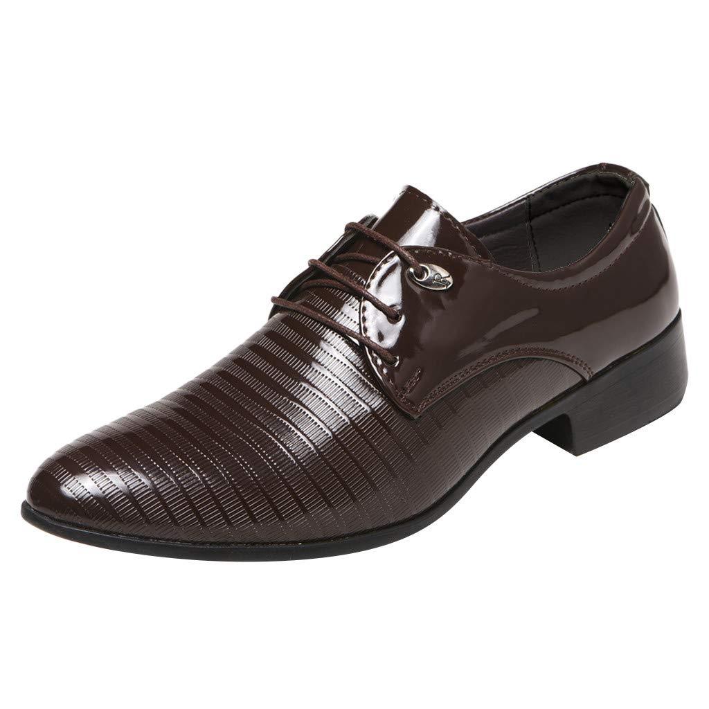 HOSOME Fashion Men Business Leather Shoes Casual Pointed Toe Lace Shoe Male Suit Shoes Men's Business Shoe Brown