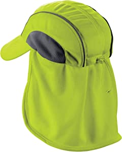 Ergodyne Chill Its 6650 Baseball Cap, Hat with Neck Shade, Sweat Wicking, High Visibility , Lime