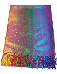 CJ Apparel Purple Feather Design Shawl Pashmina Scarf Wrap Stole Seconds NEW