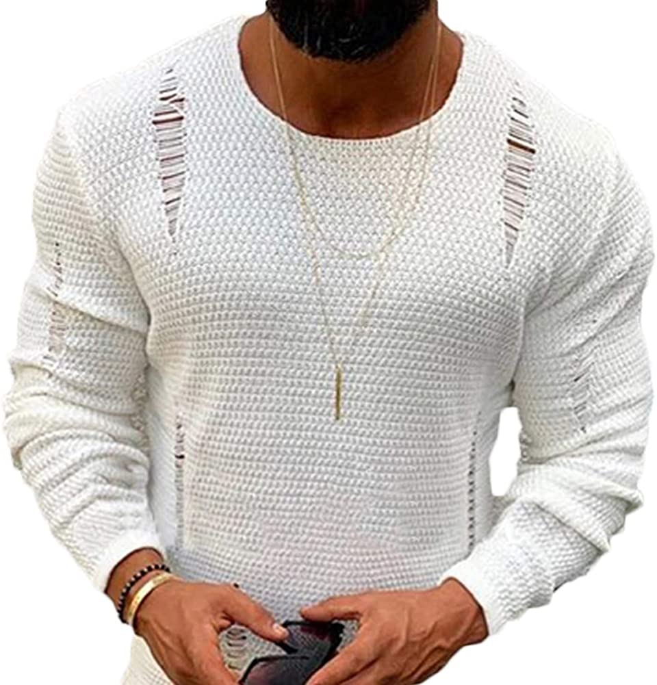 MMIRAG Mens Shredded Long Sleeve Round Neck Solid Color Knit Sweater Pullover White