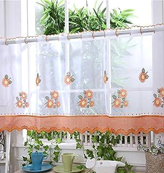 voile cortina de visillo paneles u d u naranja girasol u uquot u cortinas
