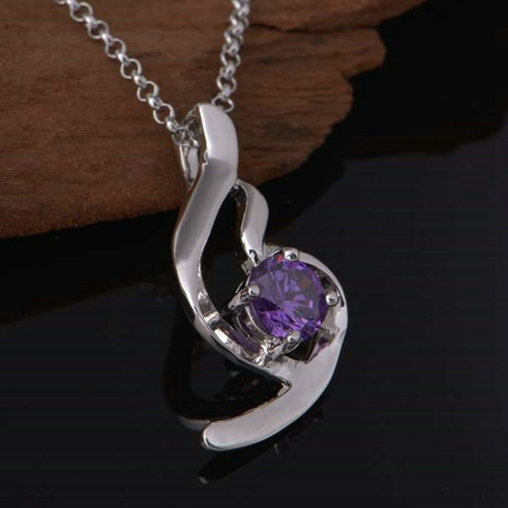 Onefeart White Gold Plated Necklace for Women Purple Crystal Angel Wings Pendant Anti-Fade 45CMx23X10MM
