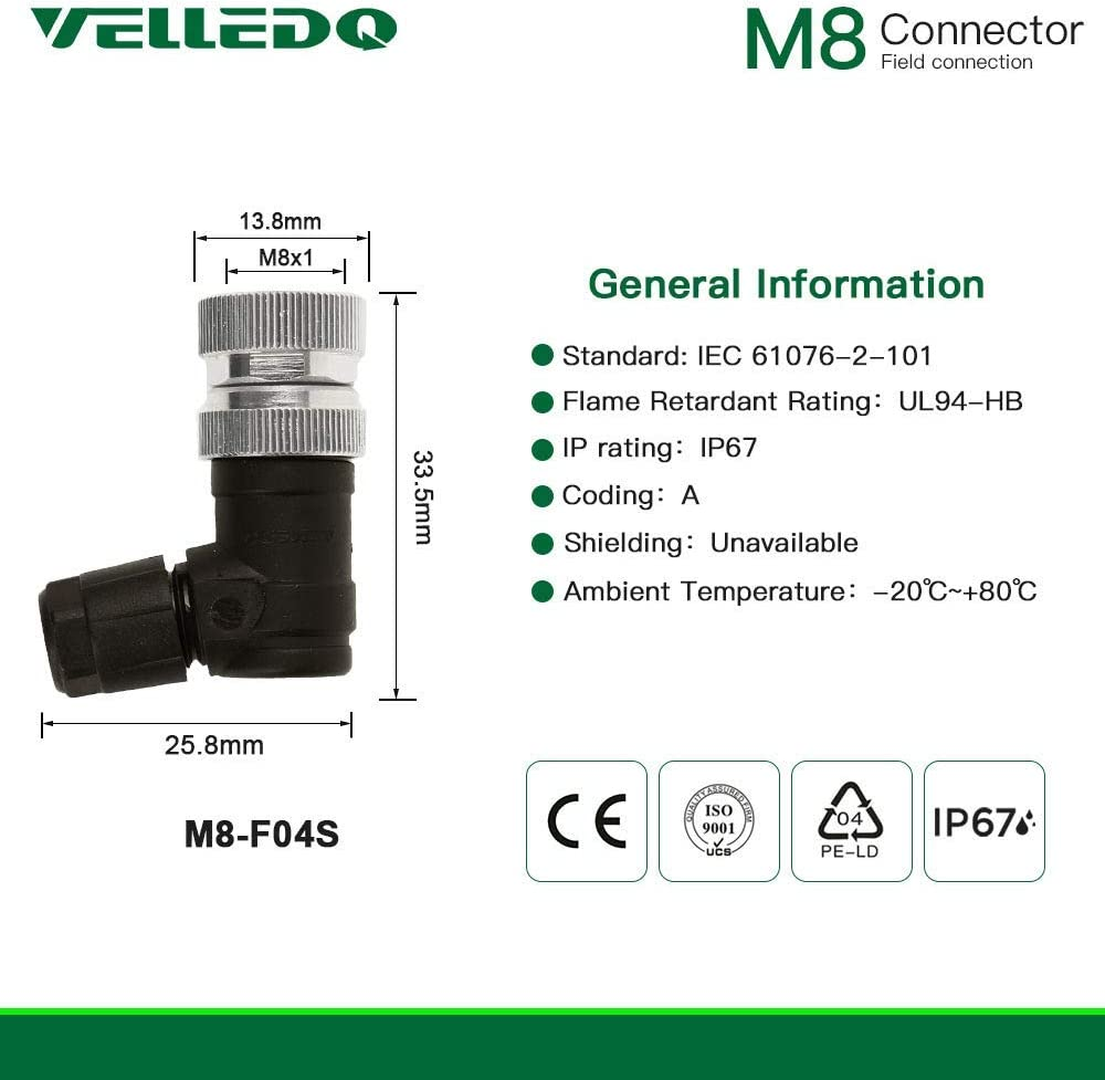 VELLEDQ Industrial Field-wireable M12 Sensor Connector 4-Pin Female Adaptor PG 7 Cable Gland Screw Terminal Plug Fittings