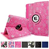 Cellularvilla Apple iPad Air Case - 360 Degree Rotating Pink Glitter Pu Leather Flip Folio Multi-Angle Stand Smart Case Cover with Auto Sleep / Wake Feature for iPad Air / iPad 5 (5th Generation)