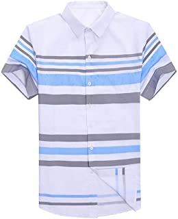 GRMO Men Contrast Color Stylish Short Sleeve Striped Business Polo Shirts