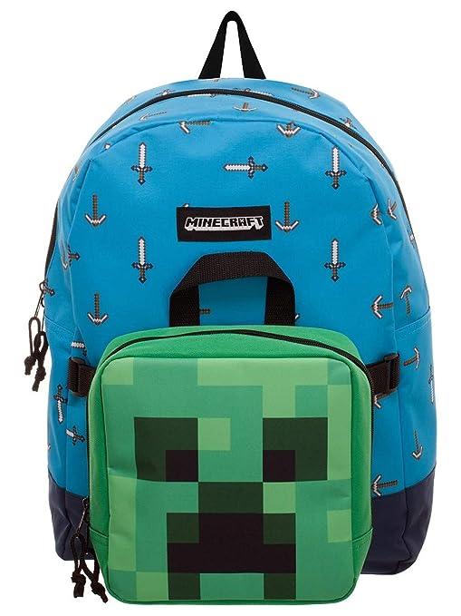 39345e0db Minecraft Mochila Espada y Hacha con Bolso Mini Creeper Azul Verde ...