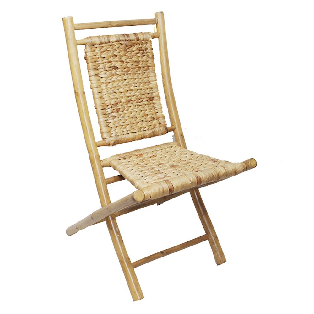 Heather Ann Creations Bamboo Folding Chairs with Arrow Weave, Pack of 2, Natural
