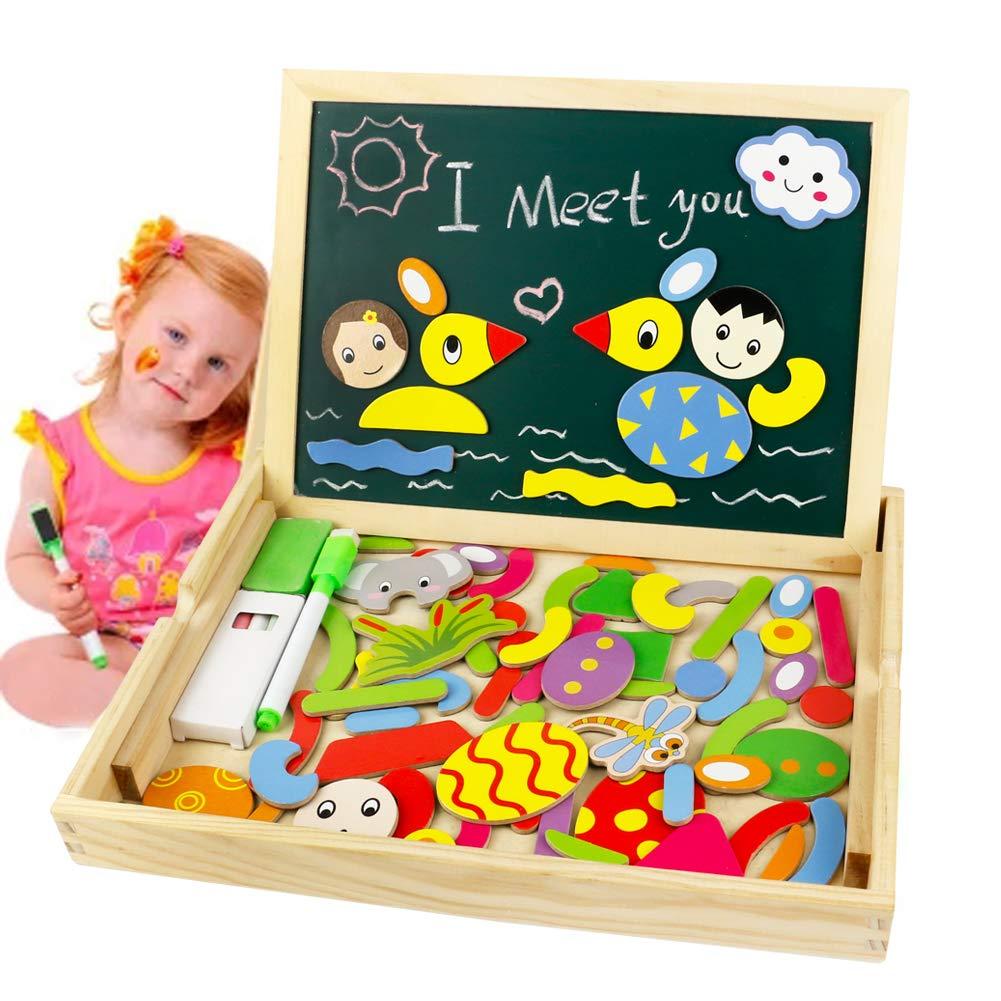 Puzzle Magnetico Niños de Madera Pizarra Magnética Infantil con Rompecabezas Caja Juguete Educativo Puzzle de Animales Regalos Juguetes Niños 3 Años