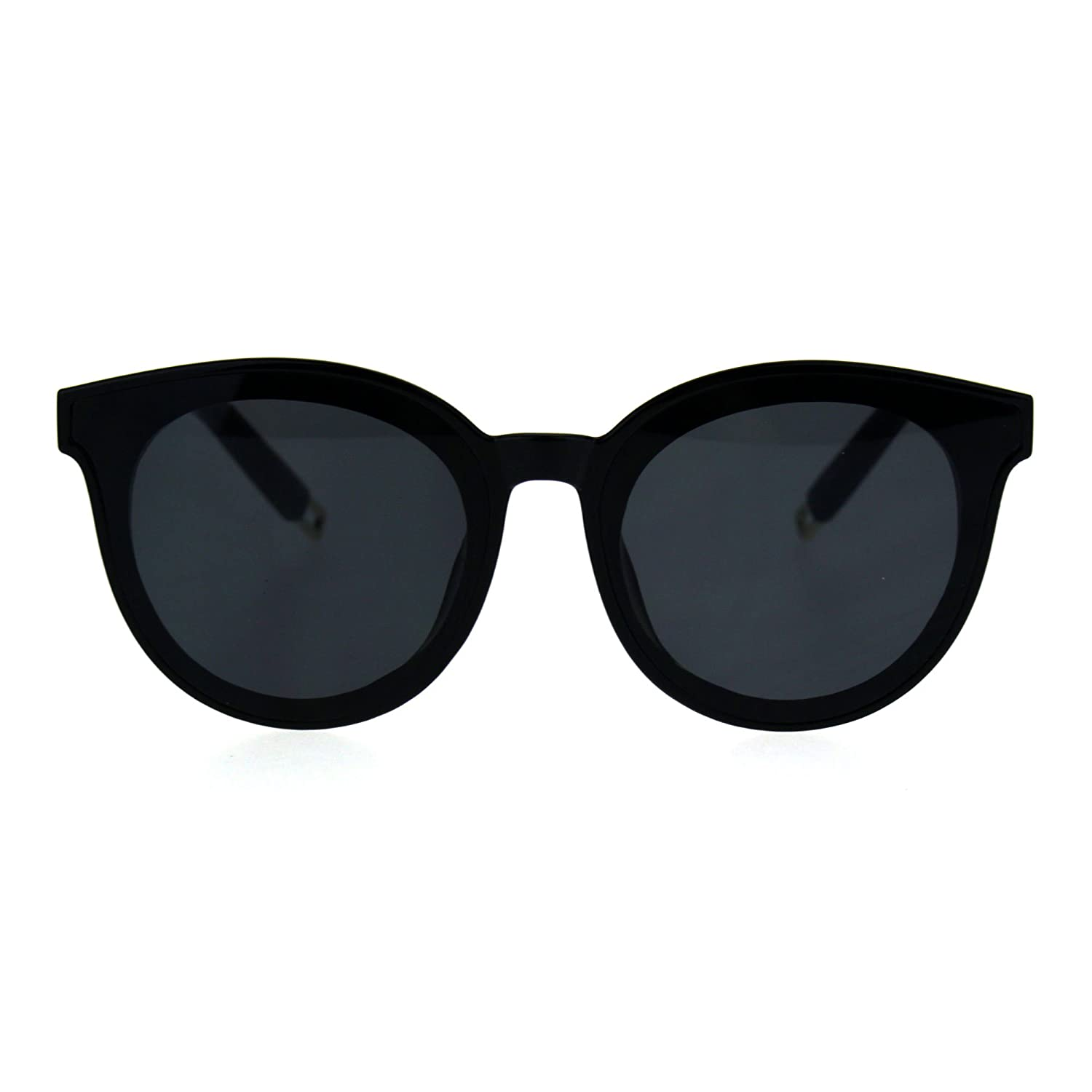 a51bcdd5ba6 Amazon.com  Hipster Plastic Horned Rim Mens Round Unisex Sunglasses Black   Clothing