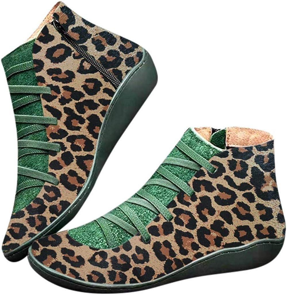 Xinantime Botines de Cuero Botas Oto/ño Vintage con Cordones Retro de Cuero Plano Casual para Mujer Zapatos de Mujer Botas C/ómodas de Tac/ón Plano Cremallera Bota Corta Botas de Nieve Impermeable