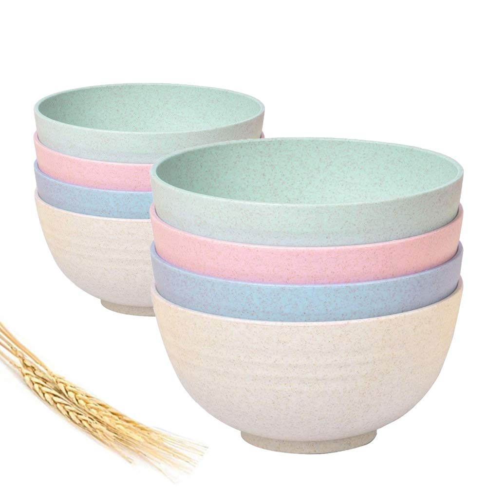 Greenandlife Super Cereal//Soup Bowls,7 inch,30 oz,Set of 8,Wheat Straw+PP,Eco-Friendly,Lightweight