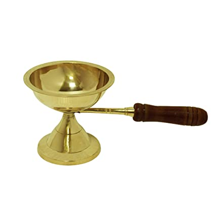 LotusFeet Spirituality Traditional Brass Dhoobakkal with Wooden Handle/Puja Dhoopakal/Pooja Dhoopkarandi Puja Articles at amazon