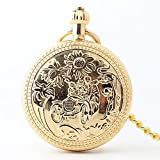 Zxcvlina Classic Smooth Exquisite Unisex Golden Retro Pocket Watch Boutique Birthday Gift Mechanical Pocket Watch with Chain Suitable for Gift Giving