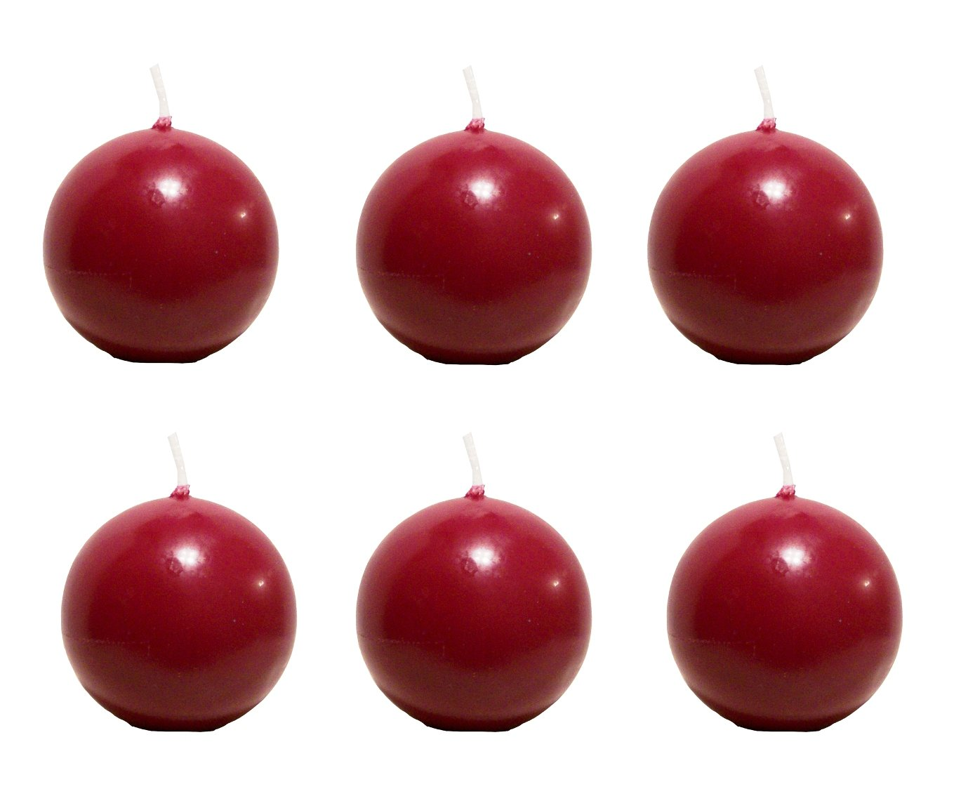 Biedermann & Sons 2-3/4-Inch Round-Shaped Candles, Burgundy, Set of 6