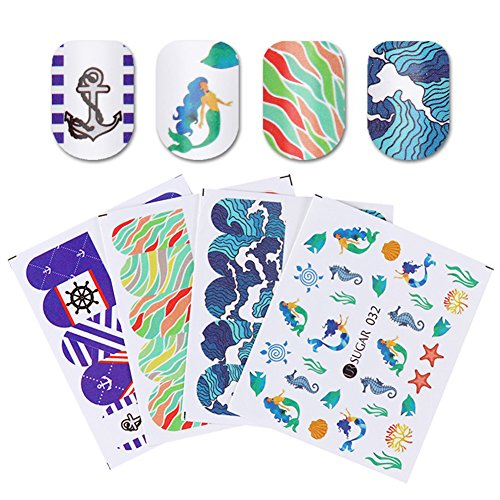CoulorButtons 4 Sheets UR SUGAR Water Decal Nail Art Transfer Stickers Nail Special Decorations (Halloween Nail Stickers Uk)