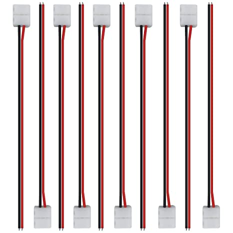 0c879af66 Amazon.com  LightingWill 10pcs Pack Strip Wire Solderless Snap Down 2Pin  Conductor LED Strip Connector for 8mm Wide 3528 2835 Single Color Flex LED  Strips  ...
