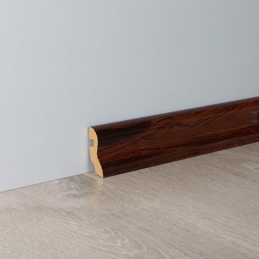 Sockelleiste Fu/ßbodenleiste S-Profil aus MDF in Rio Palisander Superglanz 2600 x 20 x 40 mm