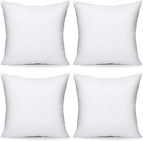 Acanva Throw Pillow Inserts Decorative Stuffer Soft Hypoallergenic Polyester Couch Square Form Euro Sham Cushion Filler 18 4p White 4 Count Home Kitchen