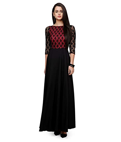 Black Stylist Long Party wear Gown Design 2018 for Women: Amazon.in ...