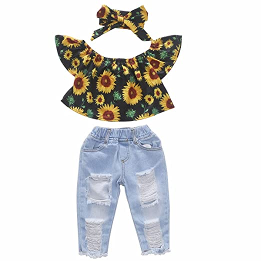 83a24a2d925ef Toddler Baby Girls Ruffle Off Shoulder Sunflower Top + Ripped Hole Denim Leggings  Long Jeans Pant