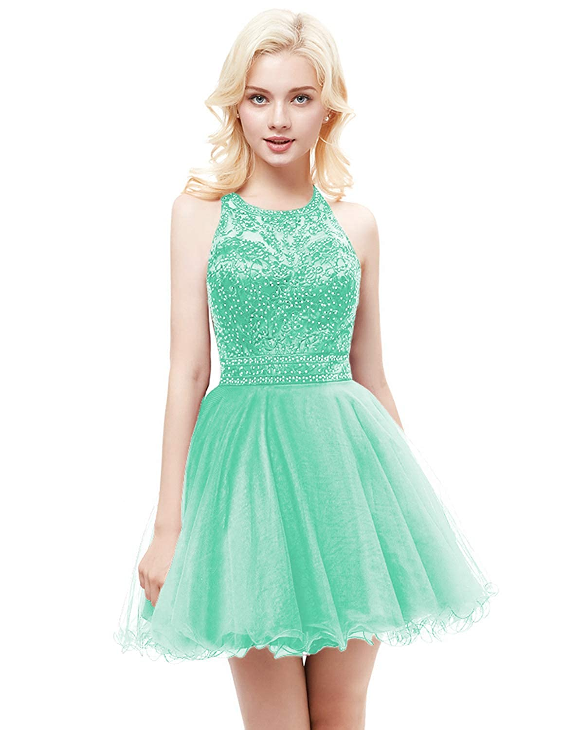 Mint Yiweir Women's Tulle Pearls Homecoming Dresses 2018 Short Formal Prom Gown H1111
