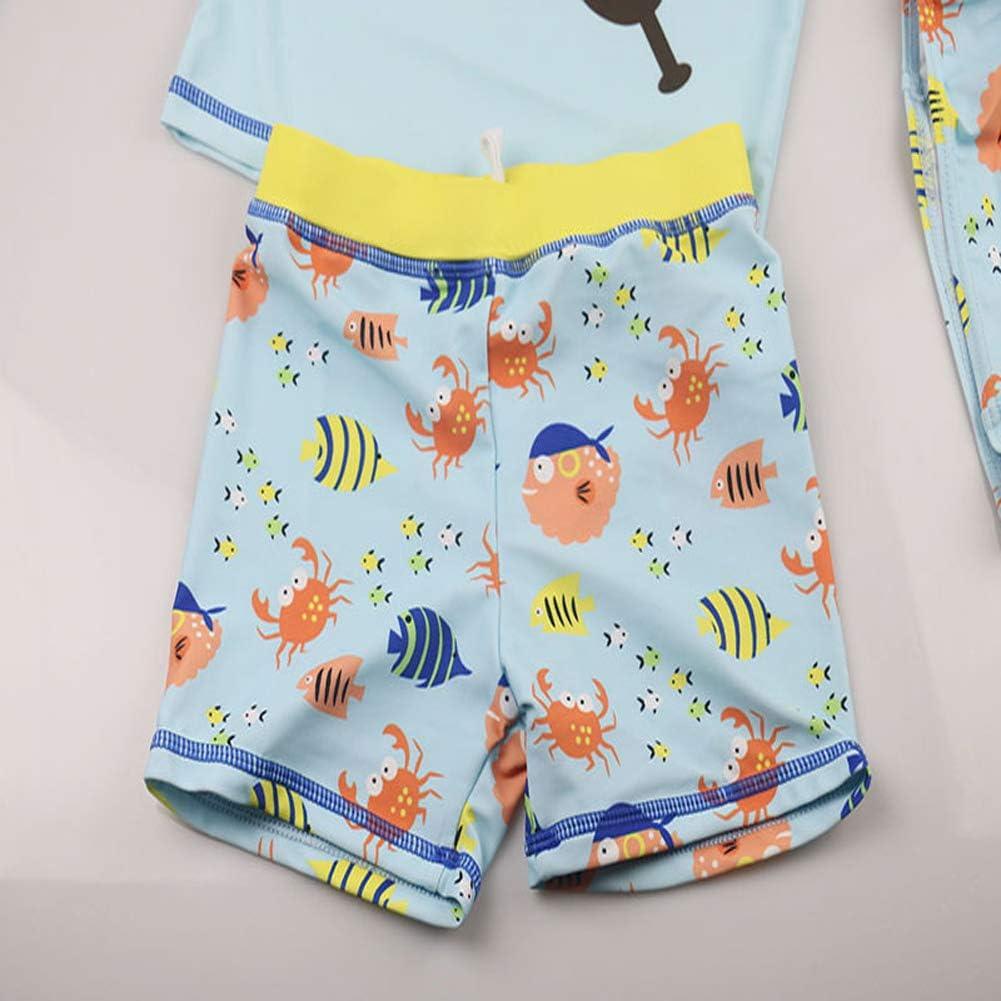 Baby Boys Two Piece Swimsuit Kids Short Sleeve Bathing Suit Rash Guards Swimwear Set with Hat UPF 50+