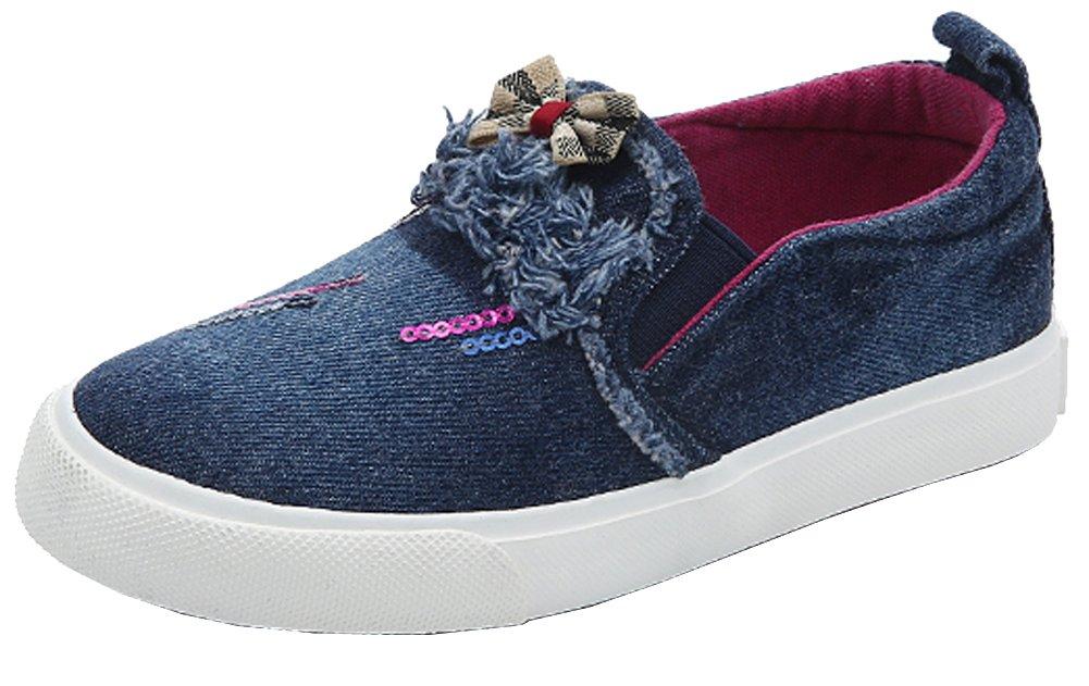 VECJUNIA Kids Casual Bowknot Sequins Slip on Retro Denim Loafers Dark Blue 1.5 M US Little Kid