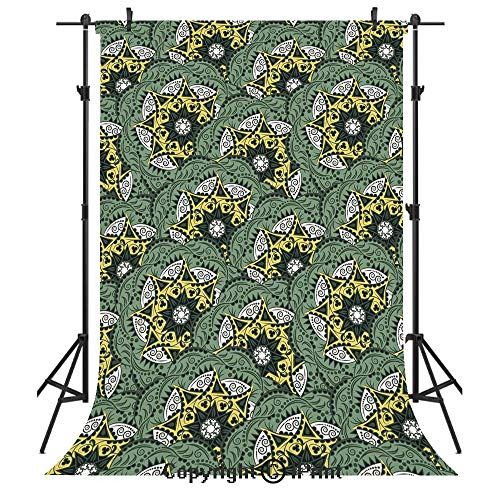 Mandala Photography Backdrops,Eastern Floral Motifs Pattern Bohemian Ornaments Vintage Artwork Decorative,Birthday Party Seamless Photo Studio Booth Background Banner 6x9ft,Jade Green Dark Green Yello ()