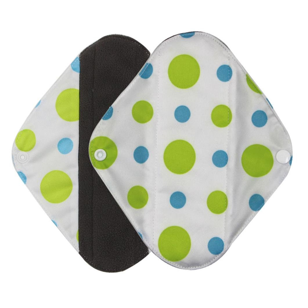 Washable Menstrual Pad,Sikye Charcoal Bamboo Fiber Mama Pads/Panty Liners/Cloth Sanitary Napkins Foldable (Green, S)