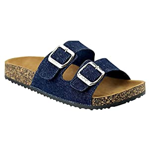 Women's Casual Buckle Straps Flip Flop Footbed Sandals (Denim Blue)