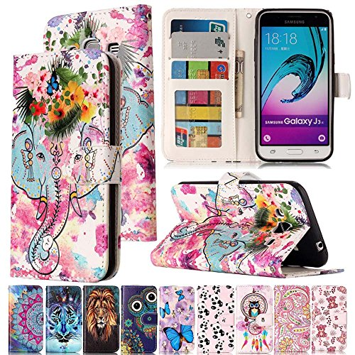 - J320 Case,IVY [Kickstand & Relief] Galaxy J3 Wallet Phone Case [ID&Credit Card Pockets][Rosette Elephant] PU Leather Flip Cover Case for Samsung Galaxy J3 2016/Express Prime/Amp Prime/J3V SM-J320