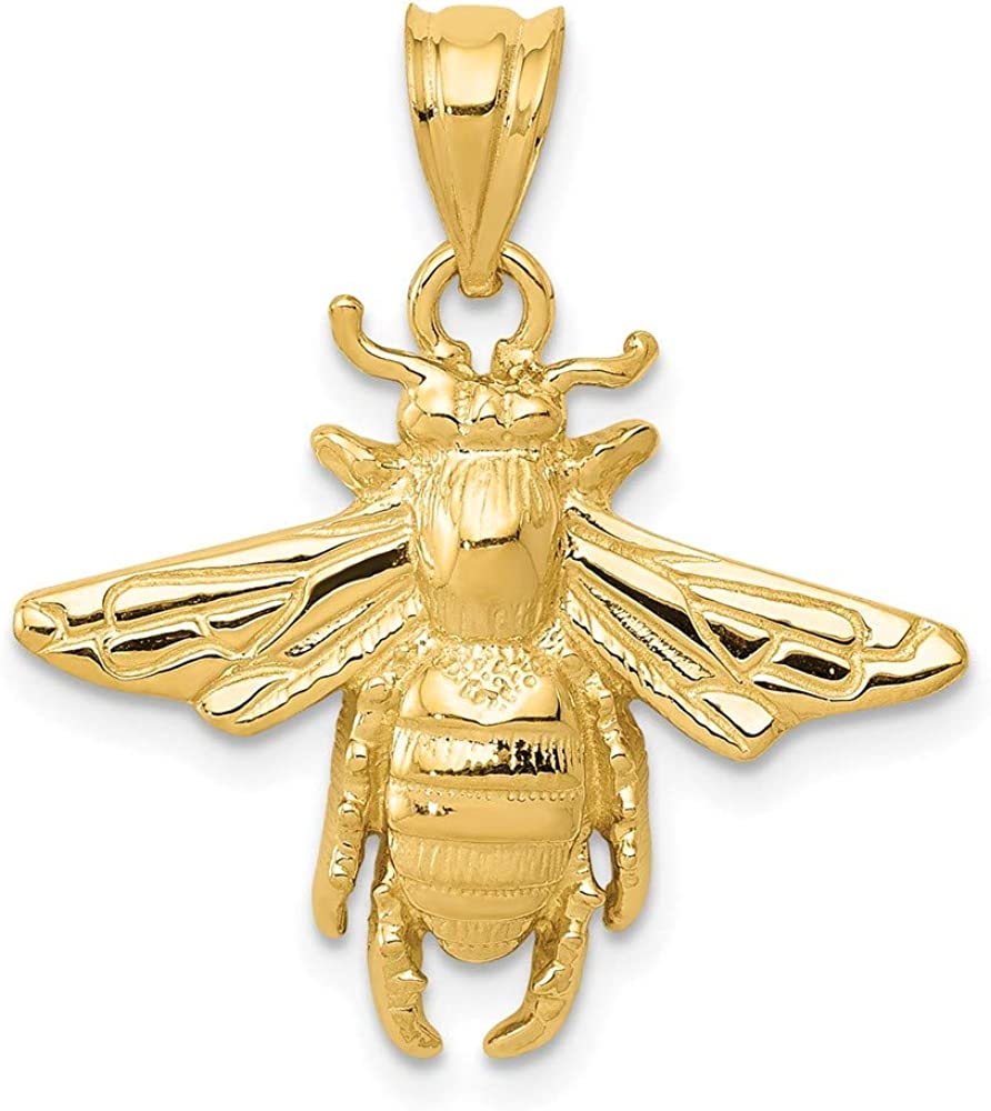 B007RJAQVA 14k Yellow Gold Solid Bee Pendant Charm Necklace Insect Fine Jewelry For Women Gifts For Her 61S27FjDufL.UL1000_