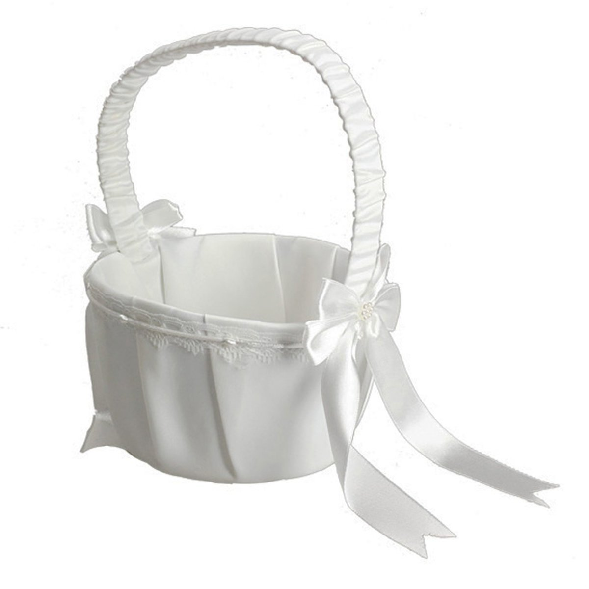 Tacoli White Ivory Bow Wedding Blower Basket Ceremony Festive Party Love Case Satin Flower Girl Basket for Wedding Party Supplies