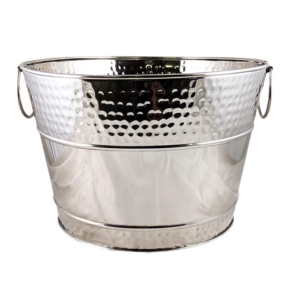 BREKX Hillcrest Stainless Steel Hammered Beverage Tub & Wine Bucket - 15 Quarts by BREKX