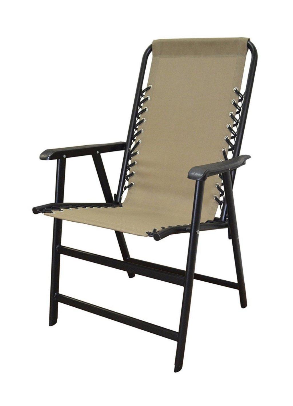koonlert14 Outdoor Patio Folding Double Bungee System Chair Sturdy Steel Frame Lightweight Comfortable Durable Textaline Fabric Porch Garden Furniture - Beige #1940
