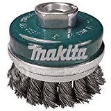 Makita 1 Piece - 2.5 Inch Banded Knotted Wire Cup Brush For Grinders - Ultra-Duty Conditioning For Metal - 2.5'' x 5/8-Inch | 11 UNC