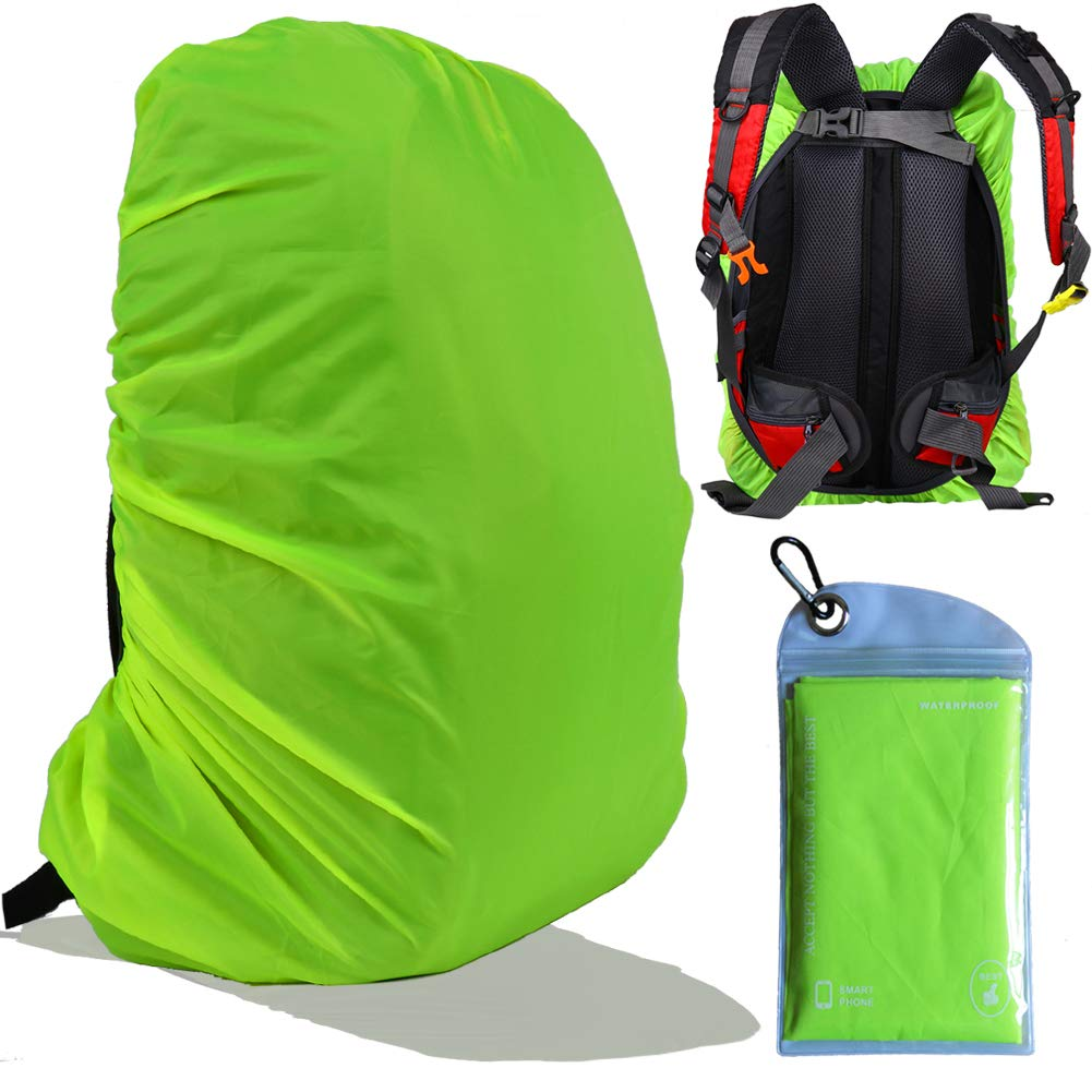 Gryps Waterproof Backpack Rain Cover with Adjustable Anti Slip Buckle Strap & PU Coating Reinforced Inner Layer for Camping, Hiking, Traveling, Hunting, Biking and More, 50-60L(Neon Green) by Gryps
