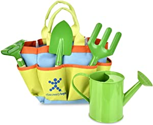 Discovery Toys Kids Garden Tool Set– 5 Piece Kid-Sized Real Metal Tools with Wood Handles - Watering Can, Tote, Spade, Fork, Rake – Outdoor Toy Gift 4 Years and Up
