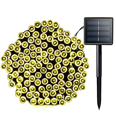 Lalapao Solar String Lights 72ft 22m 200 LED 8 Modes Solar Powered Waterproof Starry Christmas Fairy String Lights for Outdoor, Gardens, Path, Homes, Wedding, Holiday, Party, Doceration (Warm White)
