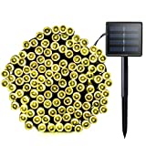 Lalapao Solar String Lights 72ft 22m 200 LED 8 Modes Solar Powered Waterproof Starry Christmas Fairy String Lights for Outdoor Gardens Path Homes Wedding Holiday Party Doceration (Warm White)