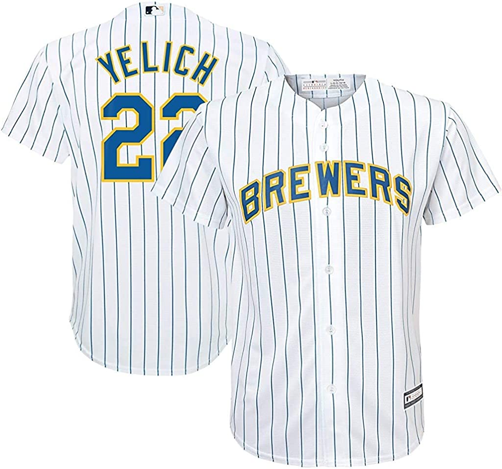 OuterStuff Christian Yelich Milwaukee Brewers MLB Majestic Youth 8-20 White Alternate Cool Base Replica Jersey