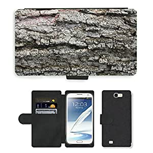 Hot Style Cell Phone Card Slot PU Leather Wallet Case // M00152425 Tree Bark Rough Wood Trunk Forest // Samsung Galaxy Note 2 II N7100