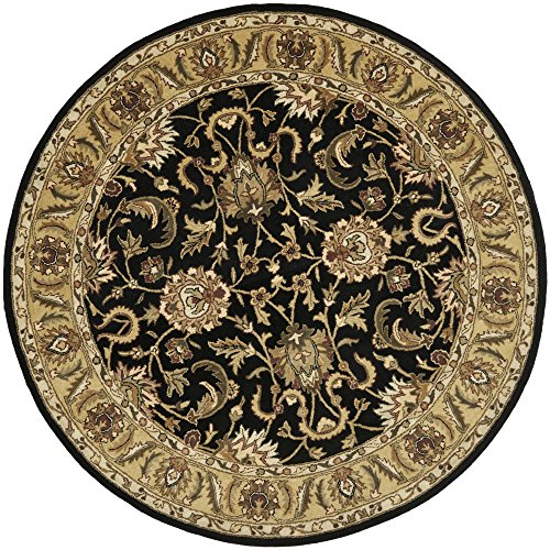Safavieh Classic Collection CL252A Handmade Traditional Oriental Black and Gold Wool Round Area Rug (5' Diameter)