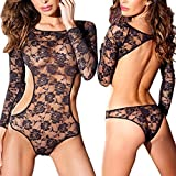 Lisli® Women Long Sleeve Fishnet Lingerie Lace Bodysuit Nightwear Backless Dress