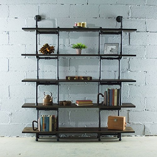 (Eugene Modern Industrial 71-Inch Tall x 64-Inch Wide Large Storage 5-Shelf Pipe Bookcase Etagere Metal And Reclaimed Aged Finish With Sustainable Solid Wood (Dark Brown Stained wood))